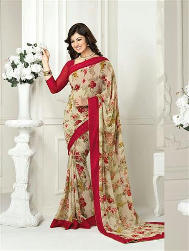 Vinay Fashion Star Walk 16981  Beige and Red Casual Georgette Saree