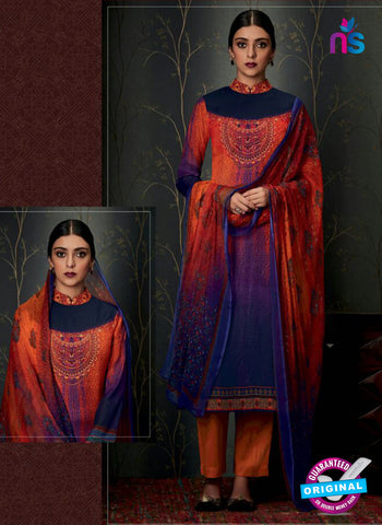 Heer 6809 Red and Blue Pashmina Winter Suit