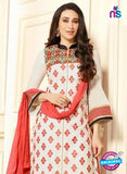 SC 13104 White and Peach Embroidered Cotton Straight Suit
