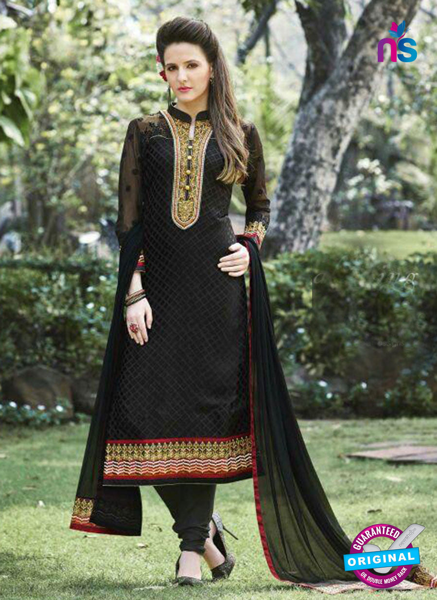 SC 13285 Black Embroidered Georgette Party Wear Designer Straight Suit