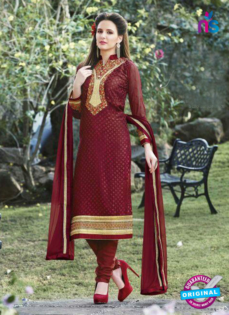 SC 13286 Maroon Embroidered Georgette Party Wear Designer Straight Suit