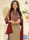 SC 13108 Brown and Maroon Embroidered Cotton Straight Suit