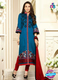 SC 13110 Blue and Red Embroidered Cotton Straight Suit