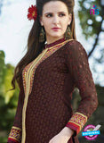 SC 13284 Brown Embroidered Georgette Party Wear Designer Straight Suit Online