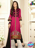 SC 13107 Magenta and Black Embroidered Cotton Straight Suit