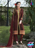 SC 13284 Brown Embroidered Georgette Party Wear Designer Straight Suit