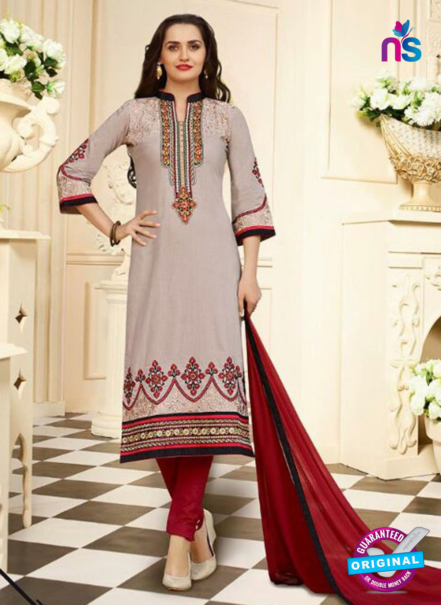 SC 13105 Grey and Maroon Embroidered Cotton Straight Suit
