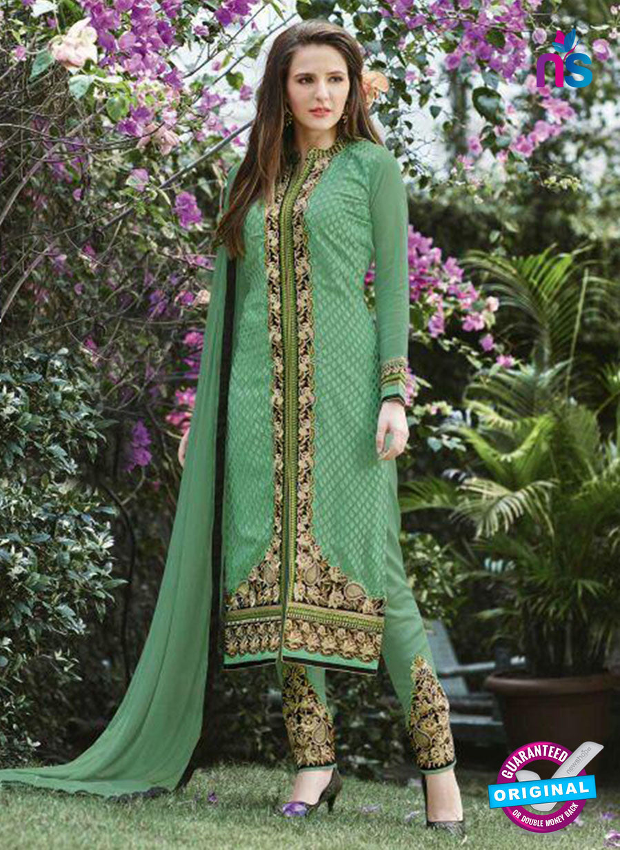 SC 13290 Green Embroidered Georgette Party Wear Designer Straight Suit