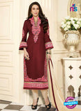 SC 13106 Brown, Pink and Beige Embroidered Cotton Straight Suit