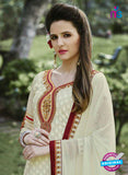SC 13289 Beige and Maroon Embroidered Georgette Party Wear Designer Straight Suit Online