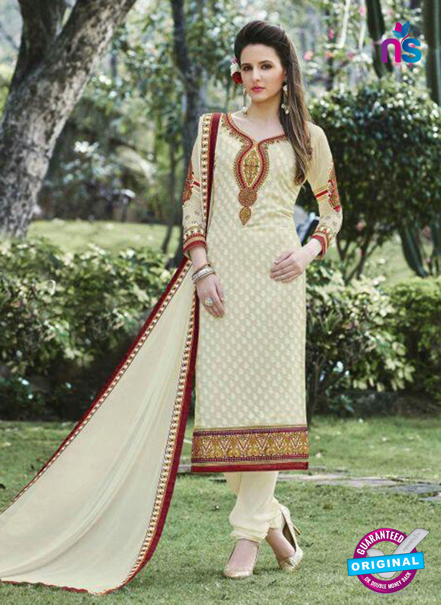 SC 13289 Beige and Maroon Embroidered Georgette Party Wear Designer Straight Suit