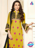 SC 13109 Yellow and Black Embroidered Cotton Straight Suit