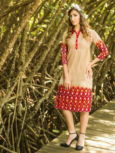 NS11726 A Beige and Red Party Wear Lemon Georgette Kurti