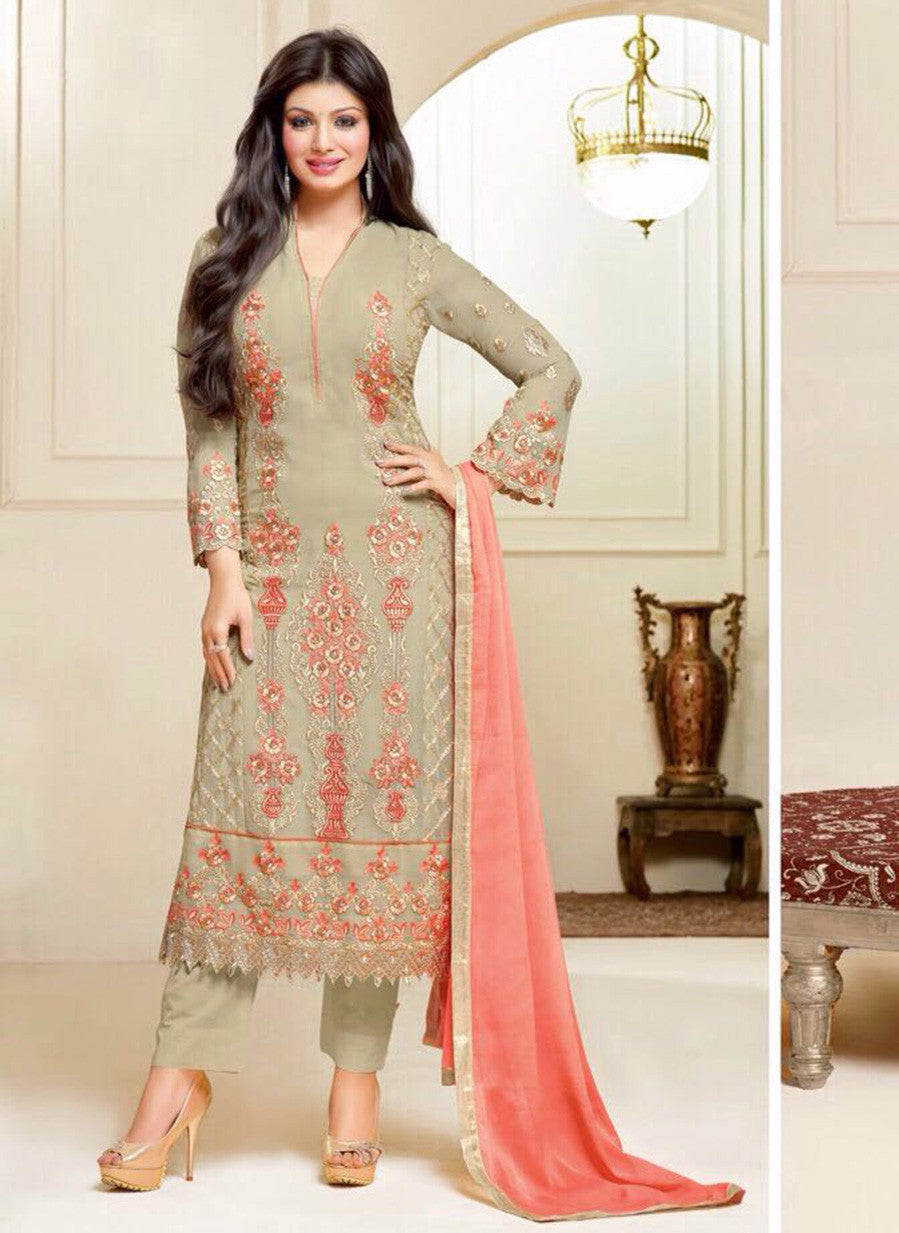 Zisa 6951  Green & Peach Color Georgette Designer Suit