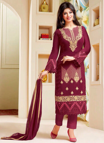 Zisa 6954  Maroon Color Georgette Designer Suit