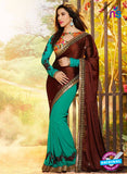 SC 12337 Brown and SeaGreen Wedding Wear Satin Jacquard Saree