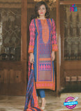 NS 12378 Blue and Magenta Embroidered Printed Lawn Party Wear Suit