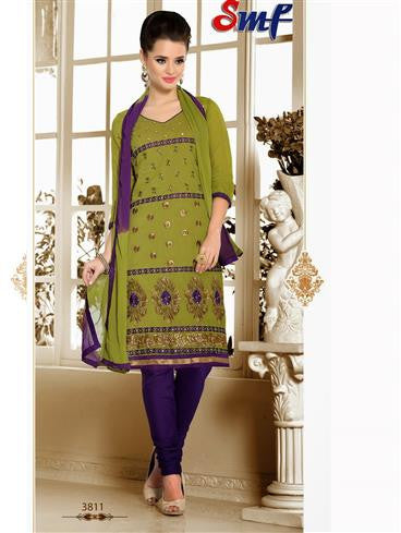 NS12245 Mehandi Green and Purple Chudidar Suit