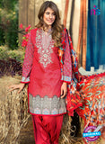 SC 13275 Red Printed Cambric Lawn Cotton Pakistani Suit