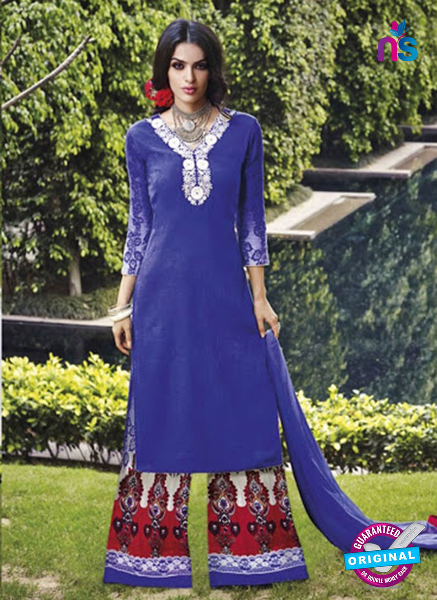NS 12290 Blue and Red Cotton Satin Party Wear Plazzo Suit