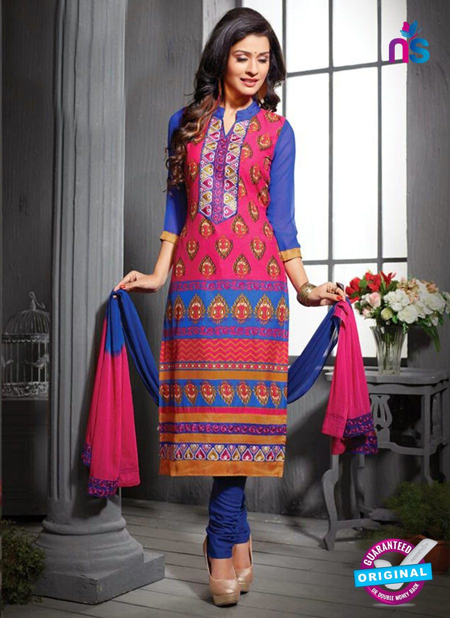 NS12197 Dark Pink and Blue Straight Suit