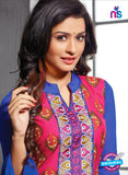 NS12197 Dark Pink and Blue Straight Suit Online