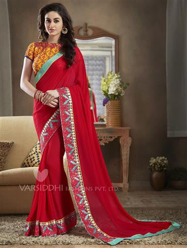 NS11117 Orange and Red Georgette Designer Saree