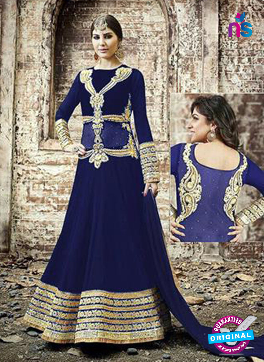 SC 13256 Blue and Golden Embroidered Georgette Fancy Gawn