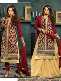 NS11574 B Red Designer Georgette Straight Suit