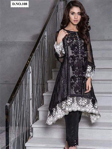 NS11496 Black and White Party Wear Georgette/Net Pakistani Suit