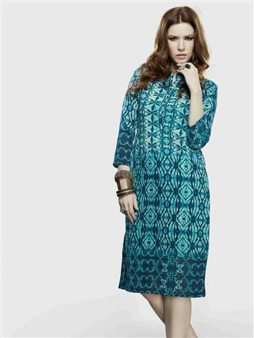 NS11725 B DarkSeaGreen Party Wear Lemon Georgette Kurti