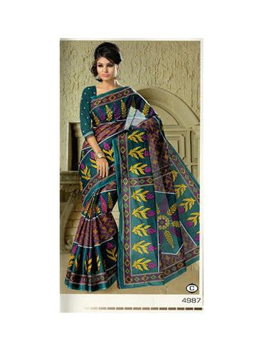 NS11639 C Green Designer Printed Pure Cotton Saree