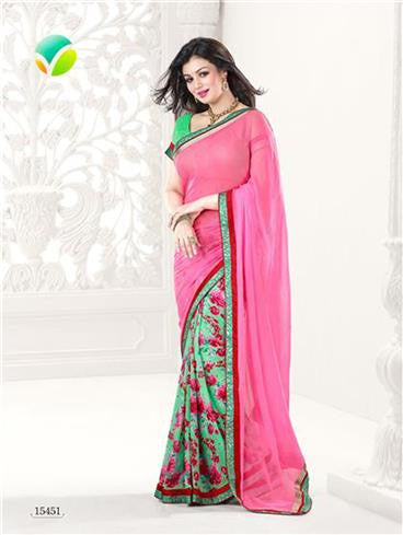 Vinay Fashion Star Walk 15451  Pink and Green Georgette Party Wear Saree