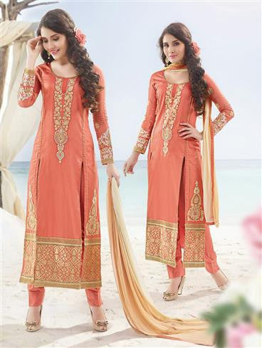 NS11888  Coral and Beige Satin Cotton Straight Suit