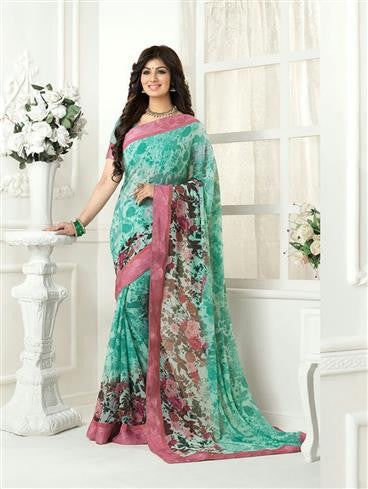 Vinay Fashion Star Walk 16993  Pink and Sea Green Party Wear Georgette Saree