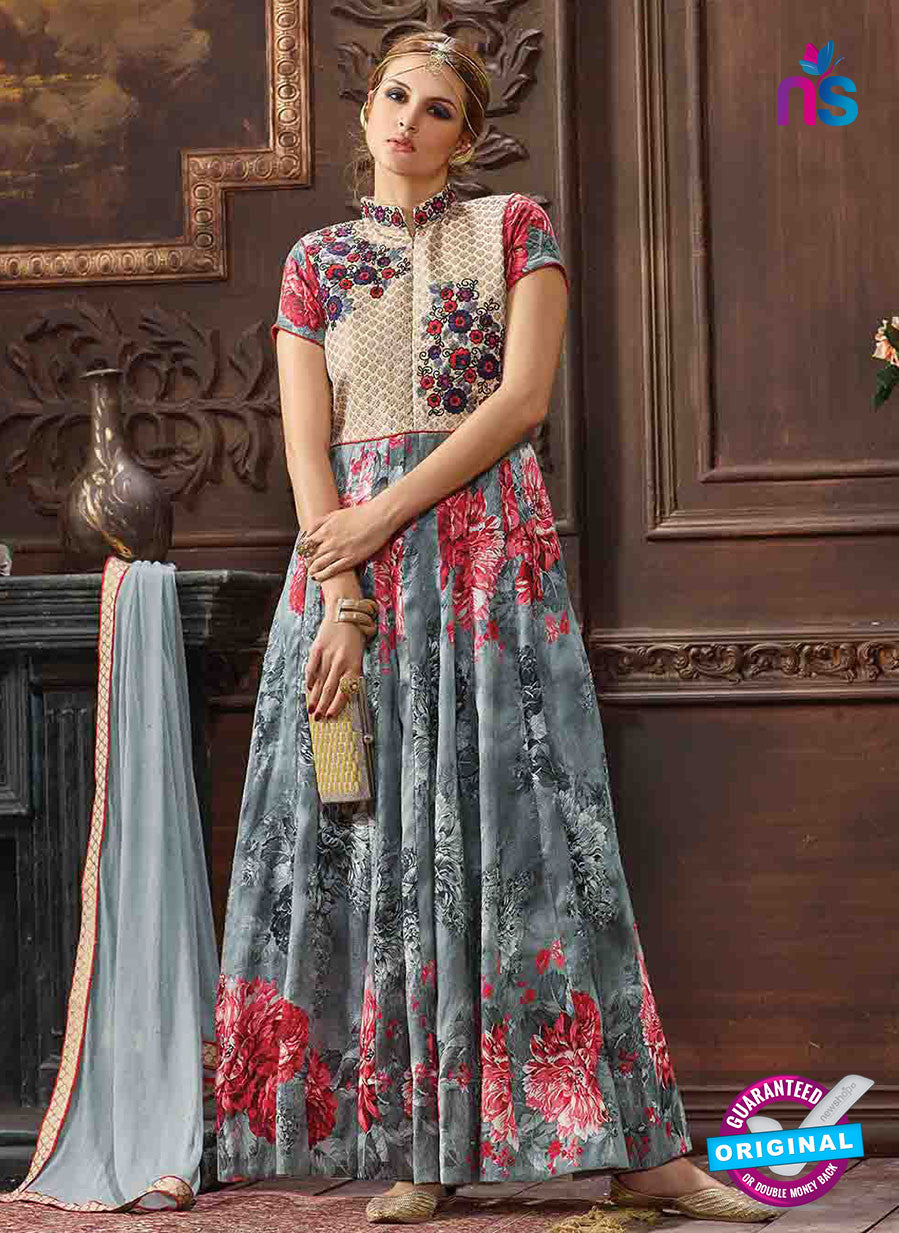 AZ 3313 Grey and Beige Silk Banarasi Brocade Fancy Designer Gawn