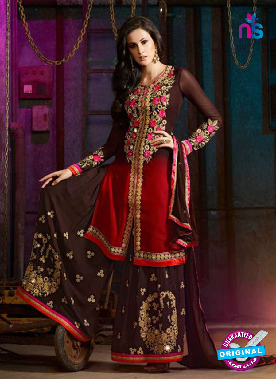 AZ 3400 Brown and Red Georgette Embroidered Function Wear Plazo Suit