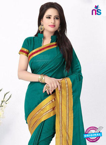 SC 13385 Sea Green and Golden Fashionable Traditional Cotton Handloom Saree