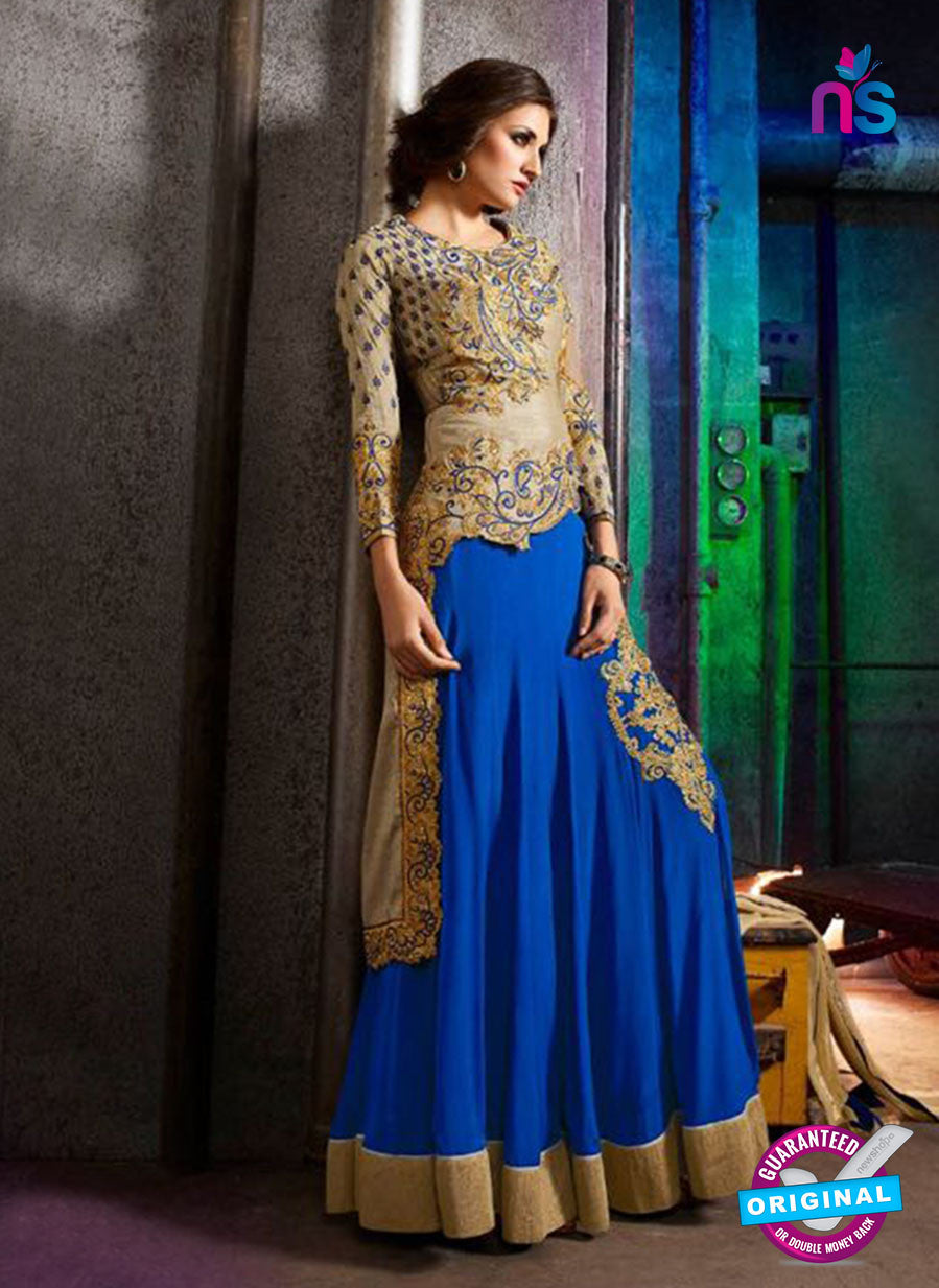 AZ 3401 Beige and Blue Silk Embroidered Function Wear Indo Western Suit