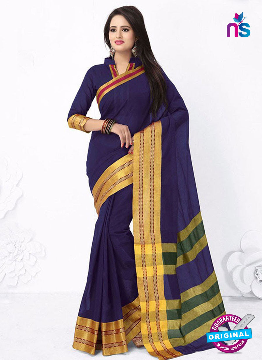 SC 13384 Blue and Golden Fashionable Traditional Cotton Handloom Saree