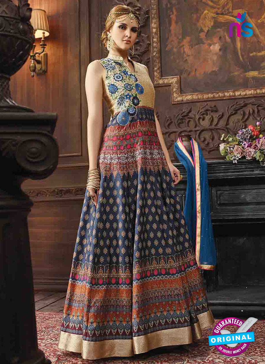 AZ 3315 Blue and Multicolor Silk Banarasi Brocade Fancy Designer Gown