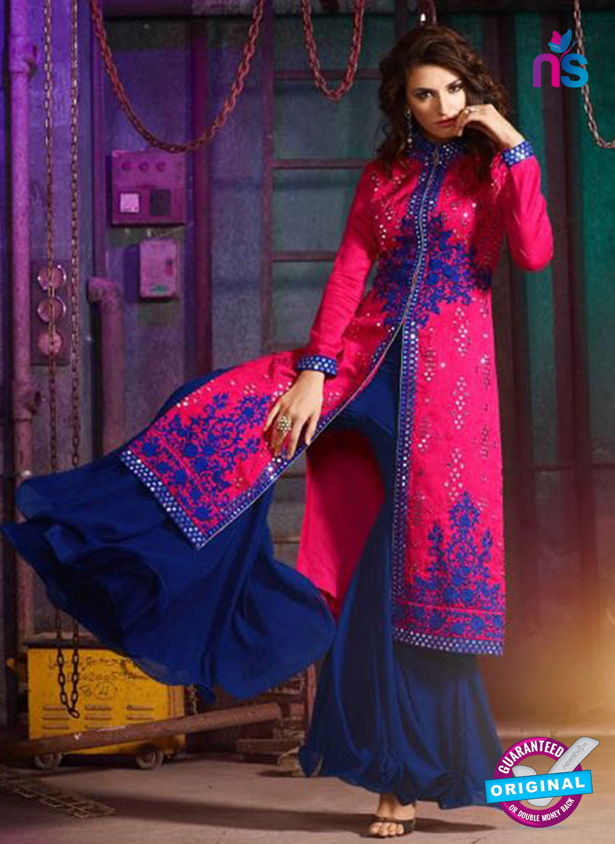 AZ 3404 Pink and Blue Silk Embroidered Function Wear Plazo Suit