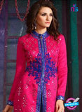 AZ 3404 Pink and Blue Silk Embroidered Function Wear Plazo Suit Online