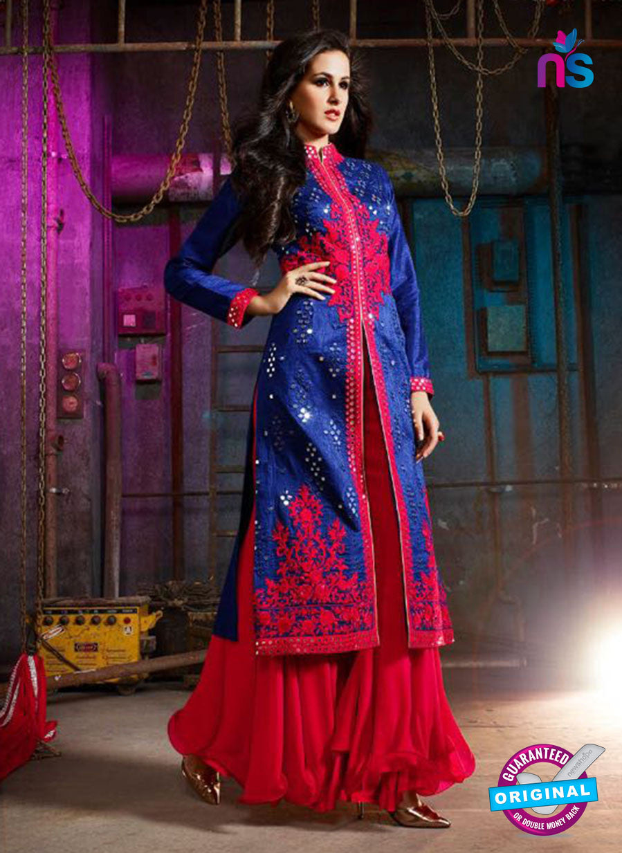 AZ 3405 Blue and Red Silk Embroidered Function Wear Plazo Suit
