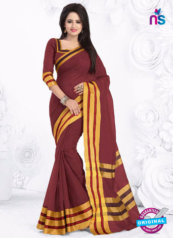 SC 13382 Brown and Golden Fashionable Traditional Cotton Handloom Saree