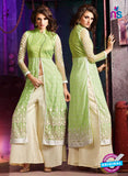 AZ 3407 Green and Beige Silky Net Embroidered Function Wear Plazo Suit