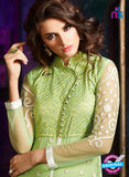AZ 3407 Green and Beige Silky Net Embroidered Function Wear Plazo Suit Online