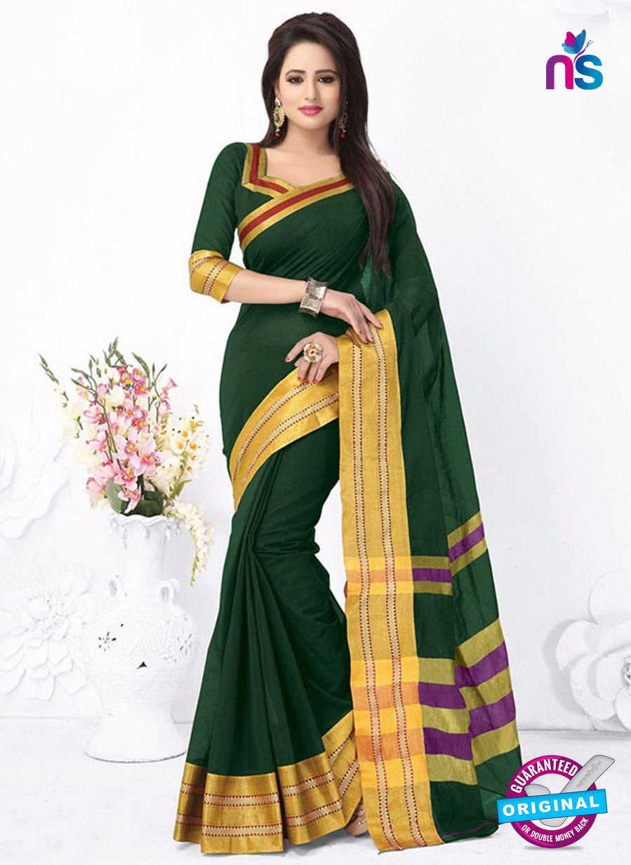 SC 13380 Green and Golden Fashionable Traditional Cotton Handloom Saree