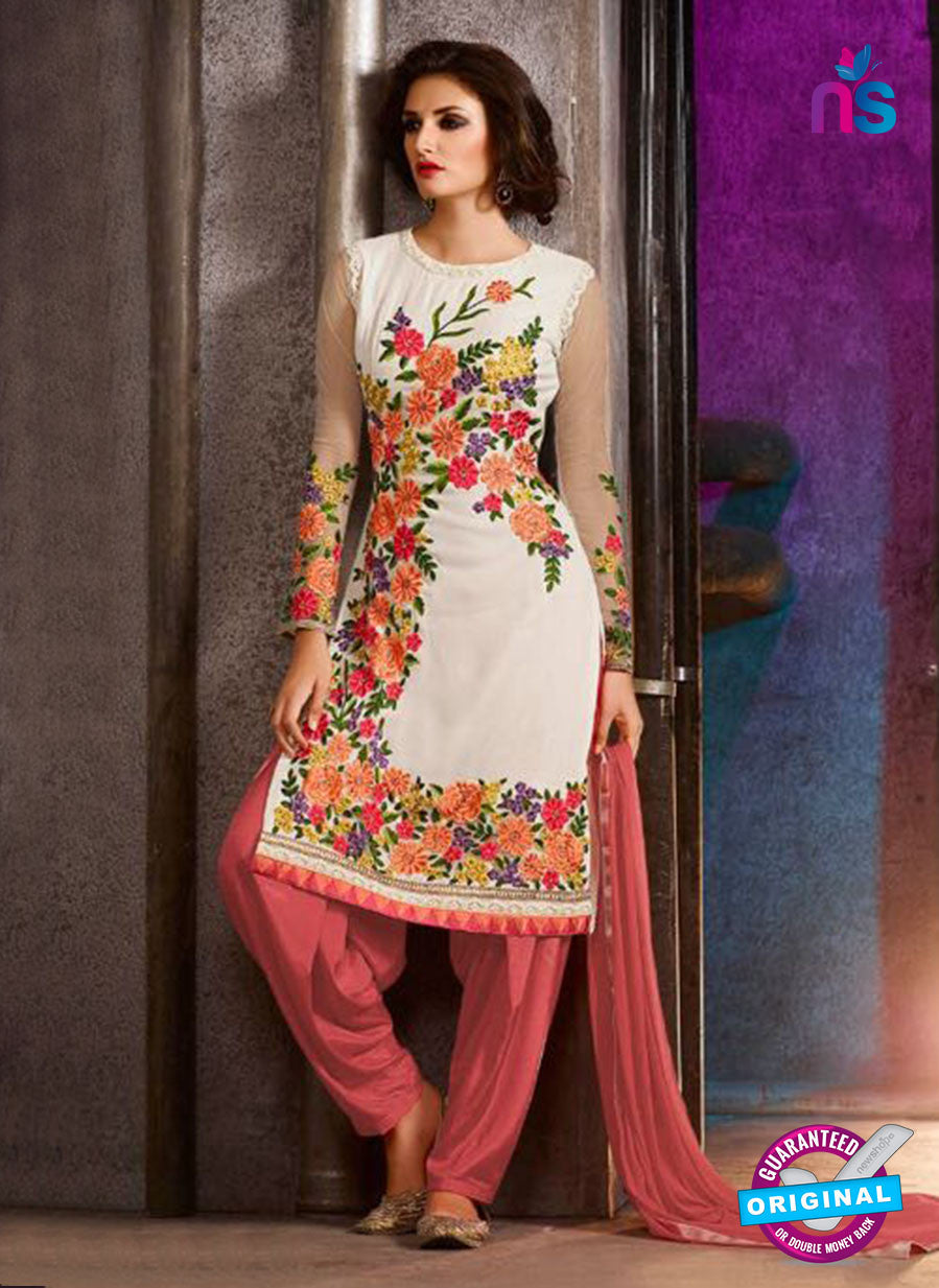 AZ 3409 White Georgette Embroidered Function Wear Suit