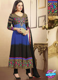 SC 12527 Blue and Black Embroidered Georgette and Net Wedding Wear Anarkali Suit